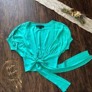 🛍3/$25  French Connection Green Shrug M